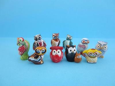NEW 2016 MINIATURE PORCELAIN COLORFUL OWL COLLECTION GOLD TRIMMED SET, Mum&Baby