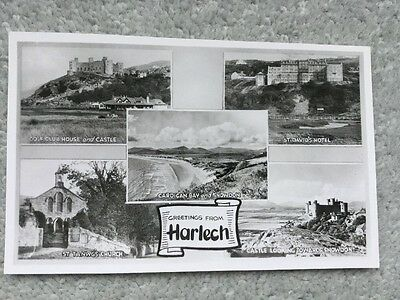 Vintage Real Photo Multiview Postcard - Harlech Wales, Unposted