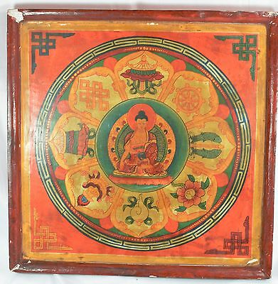 Vintage Chinese Buddhist Painting on Wood ~ 12'' x 12'' ~