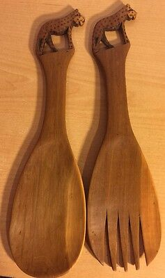"Hand Carved Wooden Cheetah Spoon And Fork, 12"" Long"