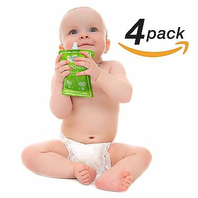 HB Reusable Food Pouch Easy Clean No Leaks For Baby Toddler Kids 4-Pack