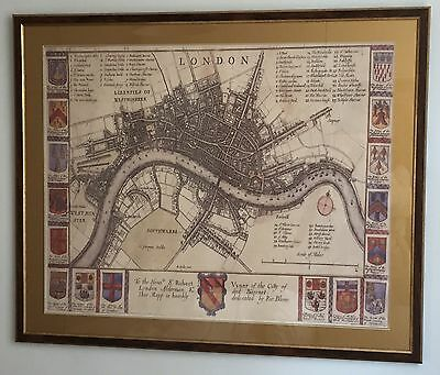 Framed Antique London city plan w/ Coats of Arms 1673 by Richard Blome