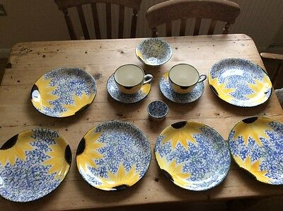 Poole pottery Vincent/sunflower design plates, bowl, cup and saucer, ramakin