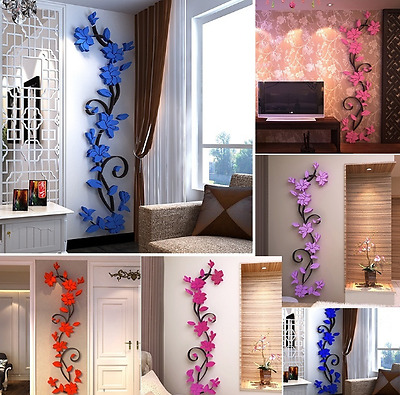 Removable 3D Acrylic Flower Style Vinyl Quote Wall Sticker Art Decal Home Decor
