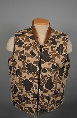 VTG Walls DUCK Camo Green Brown Reversible Hunting Vest Medium Men MADE IN USA