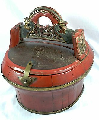 Chinese Wedding Basket Lacquer Gilt Wooden Hand Painted