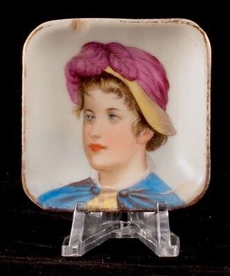 Antique Vintage Hand Painted Miniature Portrait Butter Pat