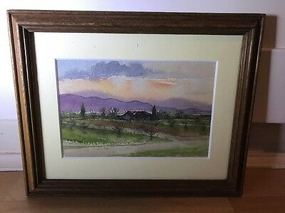 Charming Vintage 1930's Watercolour Painting Of Landscape In Oak Frame