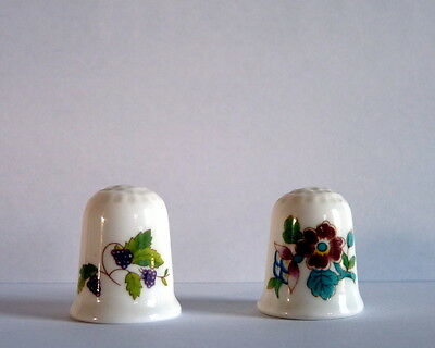 Two Coalport Bone China Thimbles - Ming Rose and Blackberry
