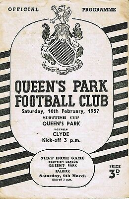 Queen's Park v Clyde Scottish Cup 16th February, 1957