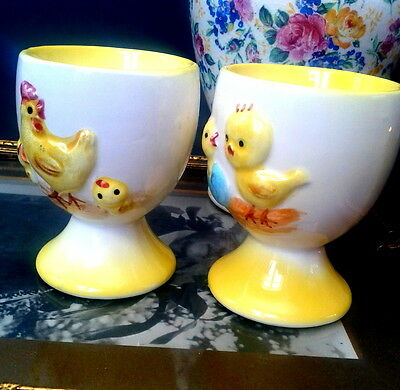 Set of Two c1950s Noritake Giftcraft Japan Yellow Chick & Hen Egg Cups Easter