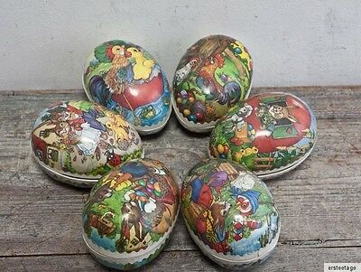 6 x Ostereier Pappeier Pappe DDR  Ostern  Candycontainer