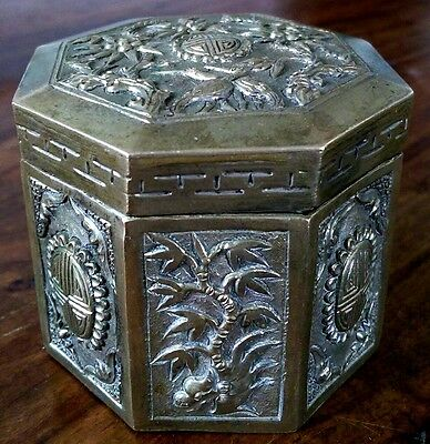 Vintage Chinese octagonal silver plated trinket box
