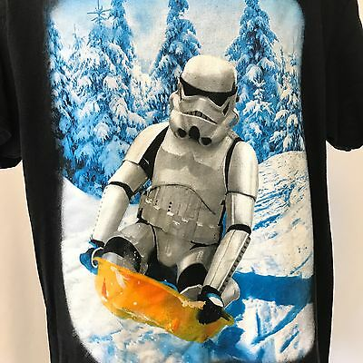 Star Wars Storm Trooper Snow Sledding Fifth Sun Large 100% Cotton Black T-Shirt