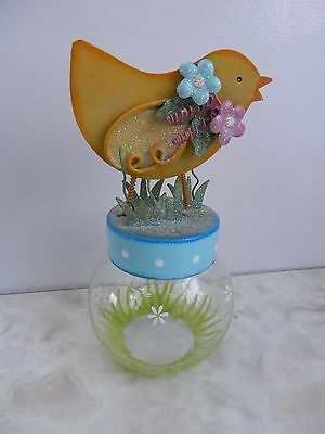Happy Easter Yellow Chick Metal Lidded Jar Cracker Barrel Candy Jar Decoration