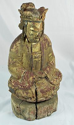 Antique Chinese Buddha Carved Wood Figurine ~ 14''  ~