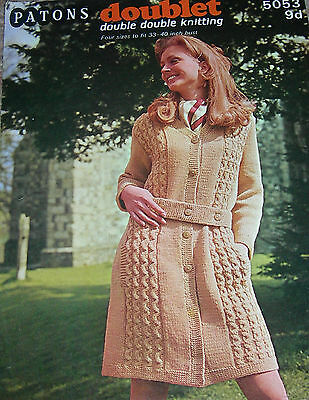 Original Vintage Patons Knitting Pattern Lady's Buttoned/Belted Cardigan-Coat