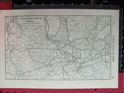 100 Year Old 1916 Pennsylvania Western Section Railroad System Map Prr History