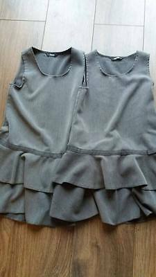 TWO girls school pinafore dresses in grey . Ra-ra skirt style. bargain.  Age 5-6
