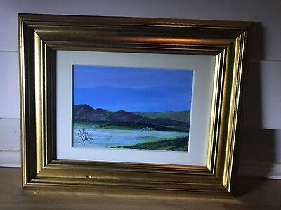 Lovely Signed Acrylic Painting Of Landscape In Gold Frame