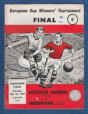 Orig.PRG   Cup Winners Cup 1961/62   FINAL   ATLETICO MADRID - AC FLORENZ ! RARE