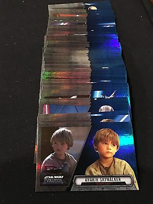 Star Wars Blue Evolution Full Set 1-100ct Trading Cards Rare Sp 2016 Force Topps