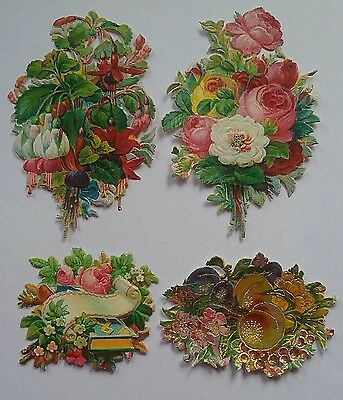 4 Beautiful  Embossed diecut  Chromo Victorian  Floral Scraps