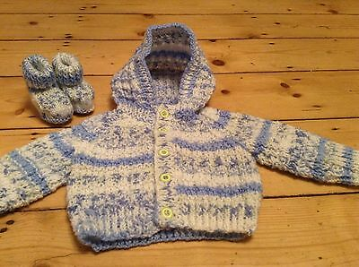 Baby Boys  Hand knit Set Age 0-3 Months Cardigan And Booties Set  - New