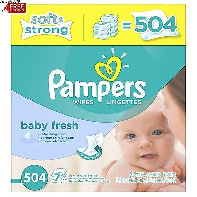 Pampers Sensitive Baby Fresh Wipes Health Skin 7 Boxes Diapering Softcare Bulk