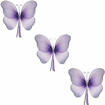 The Butterfly Grove Briana Mesh/Nylon 3D Hanging Decoration, Purple - set of 3 -