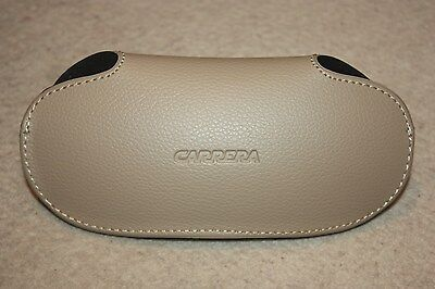 Carrera sunglasses glasses hard case, beige light brown, new with cleaning cloth