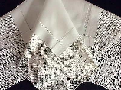 "Gorgeous Antique Linen Tablecloth ~ Deep Lace Trim ~ Roses ~ 34"" X 34"""