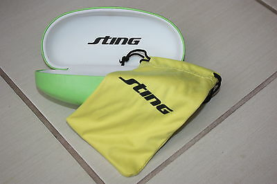 Sting sunglasses glasses hard case green,new with yellow cleaning cloth,pouch