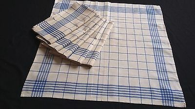Set of 6x old unused blue checkered metis kitchen Towels or rustic napkins