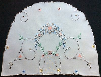 Beautiful Vintage Large Linen Hand Embroidered Tea Cosy Cover