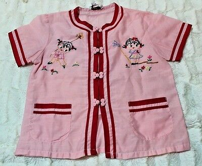 Vintage Fedo Made in China Embroidered Child's Tunic Shirt Top Size 4