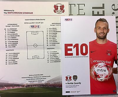 Leyton Orient V Notts County Programme & Team Sheet 18Th February 2017