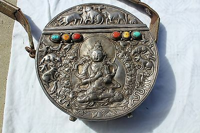 Rare 19th Century Tibetan Silver Box Red Coral Amber Turquoise