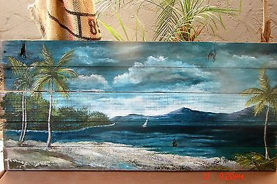 Seascape Tropical Ocean Beach  Painting On Reclaimed Salvaged Pallet Wood