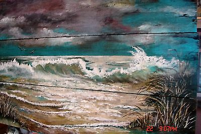 """Beach Seascape Painting On Reclaimed Salvage Pallet Wood Made To Order 24""""x38"""""""