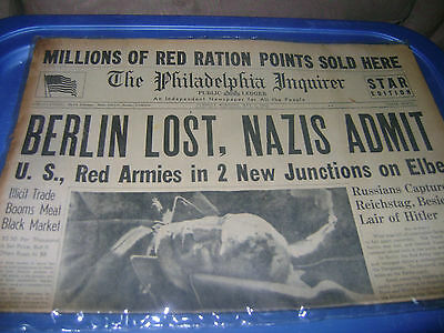 May 1,1945 Philadelphia Inquirer newspaper The Fall of Berlin