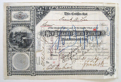 New Orleans & North Eastern Railroad Stock Cert 1883