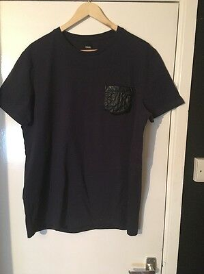ASOS Men's Navy T-Shirt With Quilted Pocket Size L