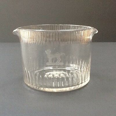 Antique Hand Blown Glass Rinser Etched Georgian regency Early Victorian 19th C