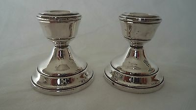 Pair Vintage 1963 Solid / Sterling Silver Candlesticks