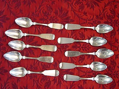 Group of Ten Coin Silver teaspoons marked Platt & Brother 1800s