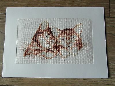 Completed cross stitch extra large card, sleeping kittens cats