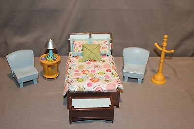 Fisher Price Loving Family Furniture Bedroom Lamp Bed Pillow Chest