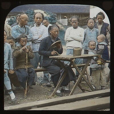 CHINA - Work in Street - 19th century - a fine tinted Magic Lantern Slide