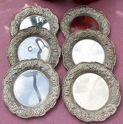 6 Sterling S. Kirk & Son Butter Pats Plates Stieff Repousse 17F No Monogram